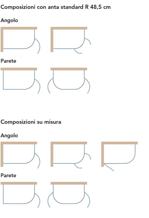 Composizioni Box doccia Battente Linea Curva