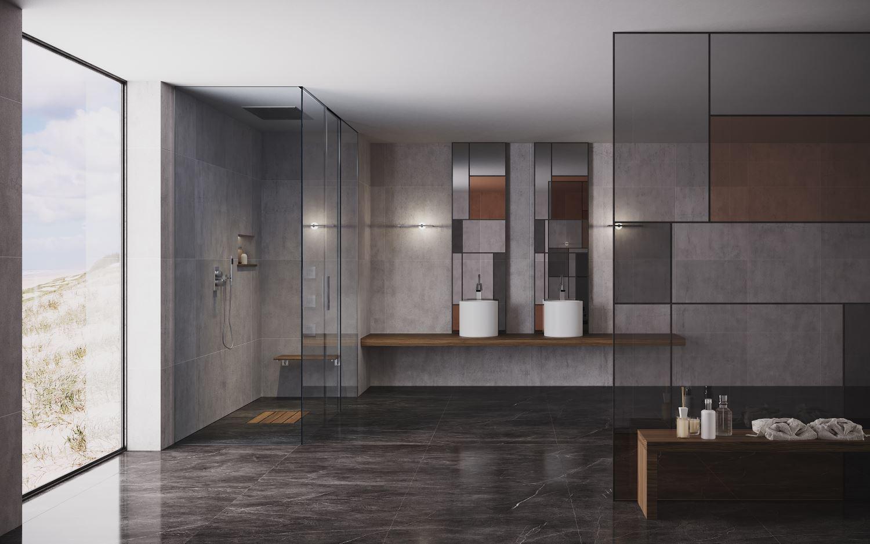 bagno moderno di lusso silverplat