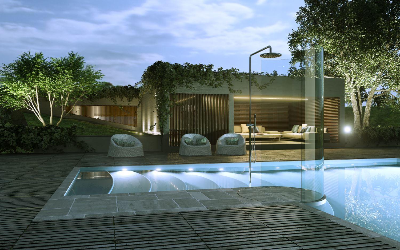 piscina doccia esterno lusso